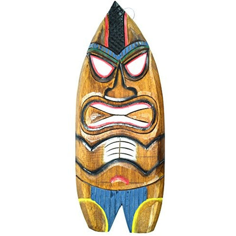 Hand Carved BEACH DUDE Surfboard Wooden Wall Hanging Art Sign Tiki Bar Mask - Tropically Inclined