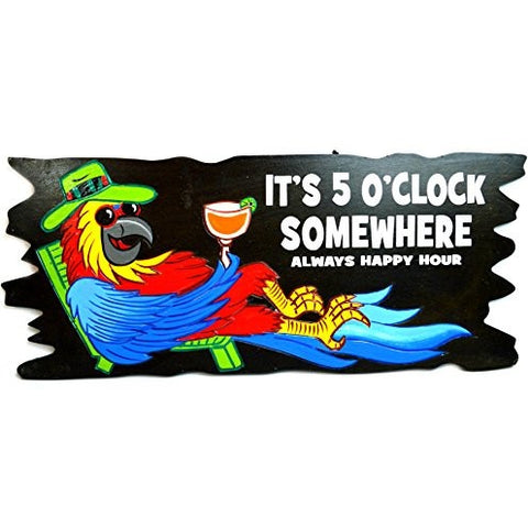Handmade PARROT IN CHAIR WITH COCKTAIL IN HAND IT'S 5 O'CLOCK SOMEWHERE ALWAYS HAPPY HOUR Wood Beach Sand Tiki Bar Sign - Tropically Inclined