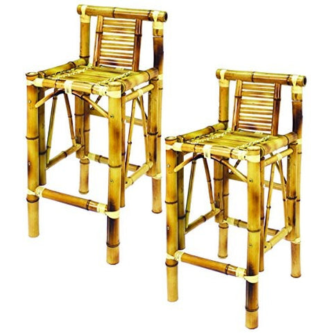 RAM Gameroom Products 28-Inch Bamboo Tiki Bar Stools (Set of 2) - Tropically Inclined