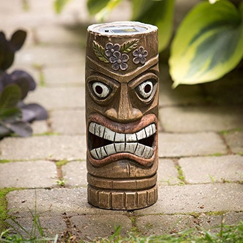 Bits and Pieces - 12 Inch Tall Solar Tiki Statue - Whimsical Light-Up Lawn and Garden Sculpture - Tropically Inclined