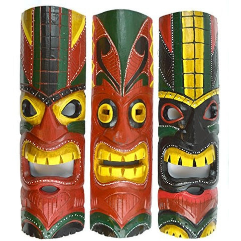 20 IN HAND CARVED BEAUTIFUL SET OF 3 POLYNESIAN TIKI GOD MASKS - Tropically Inclined
