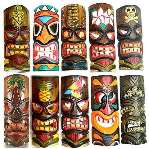 SET OF 10 HAND CARVED POLYNESIAN HAWAIIAN TIKI STYLE MASKS 12 IN TALL - Tropically Inclined