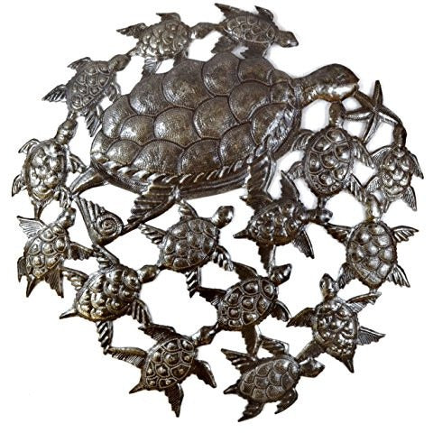 "Sea Turtles, Ocean Art, Handmade in Haiti, Recycled Metal Wall Art 23.5"" X 23.5"" - Tropically Inclined"