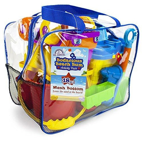 18-Piece Bodacious Beach Bum Activity Pack in Handy Carry Bag with Quick-Dry Mesh Bottom by Sol Coastal - Tropically Inclined