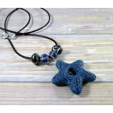 Blue Lava Bead Necklace - Tropically Inclined