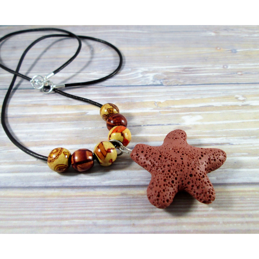 Brown Lava Bead Necklace - Tropically Inclined
