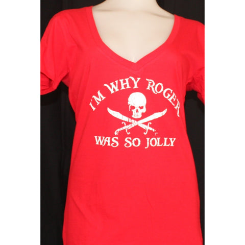"LIVING LIKE A PIRATE® ""Jolly Roger"" V-neck  T-shirt - Tropically Inclined"