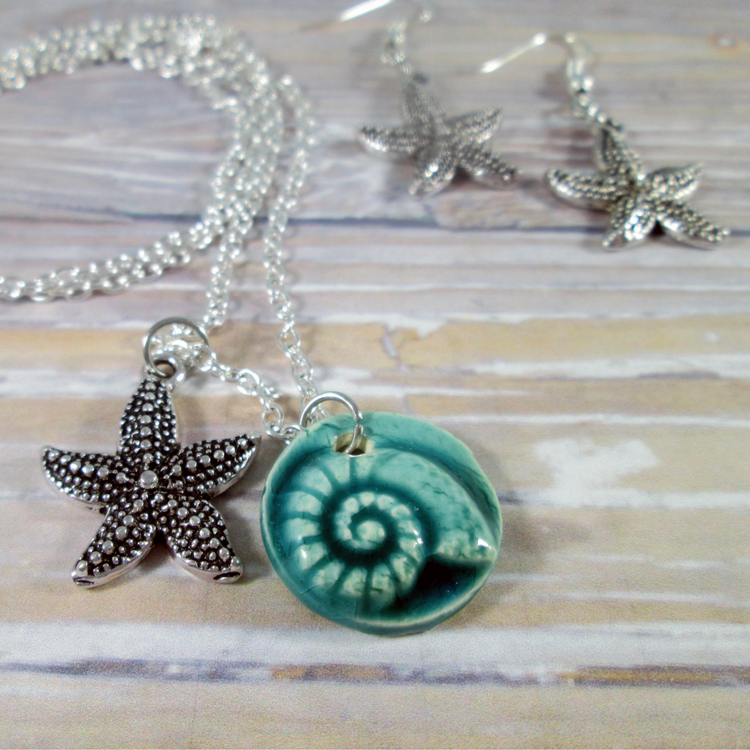 Nautilus Starfish Necklace and Earrings Set - Tropically Inclined