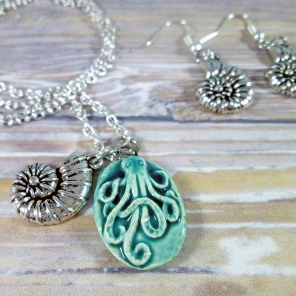 Octopus Necklace and Earrings Set - Tropically Inclined