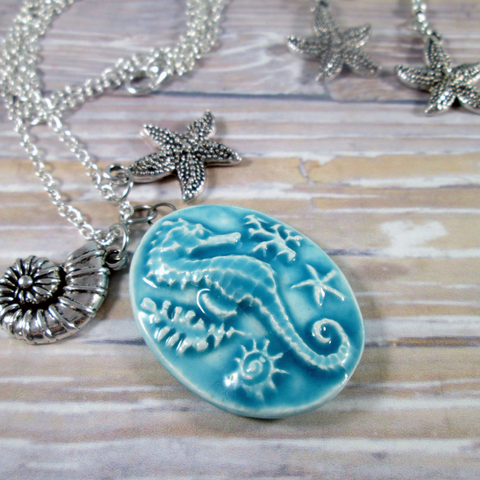 Seahorse Cameo Necklace and Earrings Set - Tropically Inclined