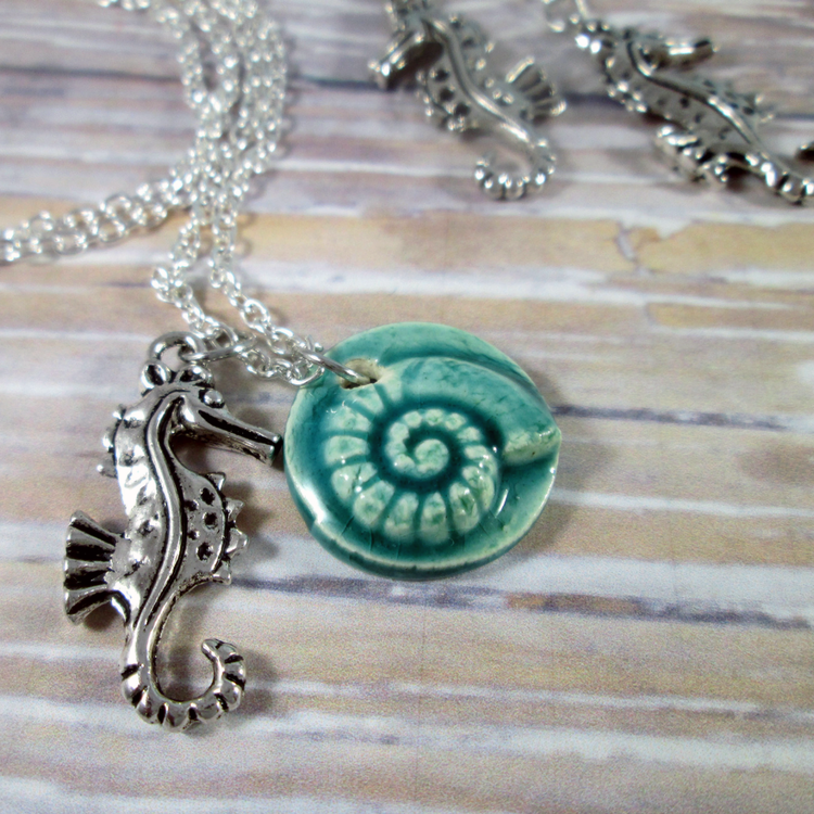 Nautilus Seahorse Necklace and Earrings Set - Tropically Inclined
