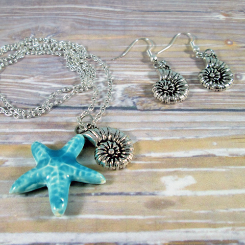 Starfish Necklace and Earrings Set - Tropically Inclined