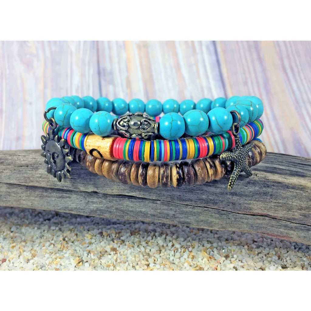 Beachy Stacking Bracelets - Turquoise - Tropically Inclined