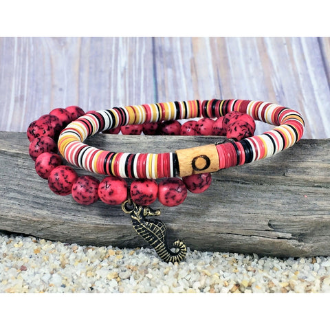 Beachy Stretch Bracelet Set - Red - Tropically Inclined