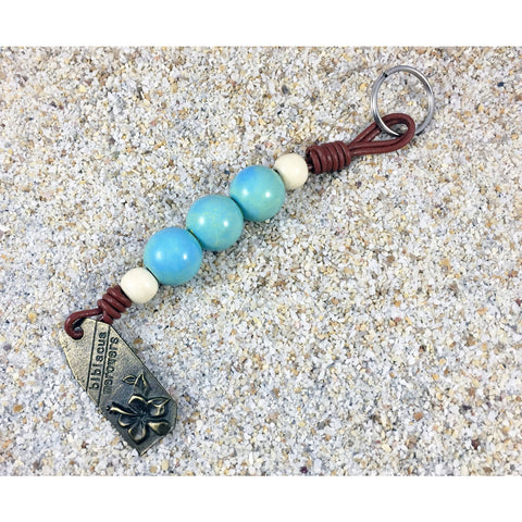 Beaded Key Ring - Aqua - Tropically Inclined