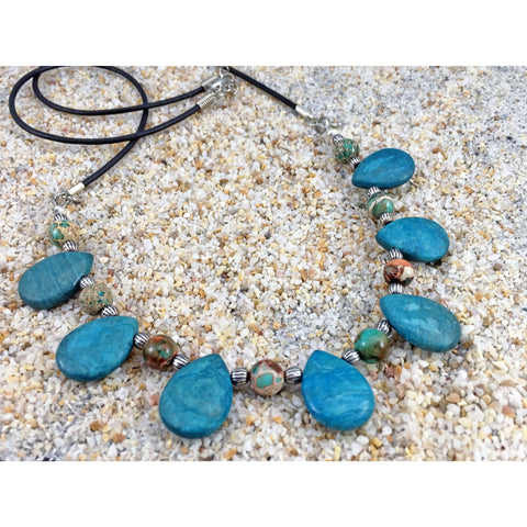 Leather Gemstone Necklace - Tropically Inclined