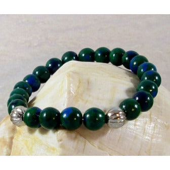 Blue Green Chrysocolla Stretch Bracelet - Tropically Inclined