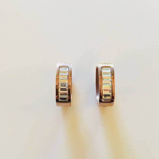 Rose Gold Baguette Earrings