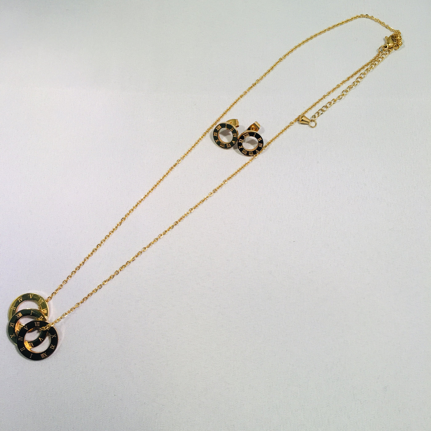 Gold Plated Three Ring Necklace Set