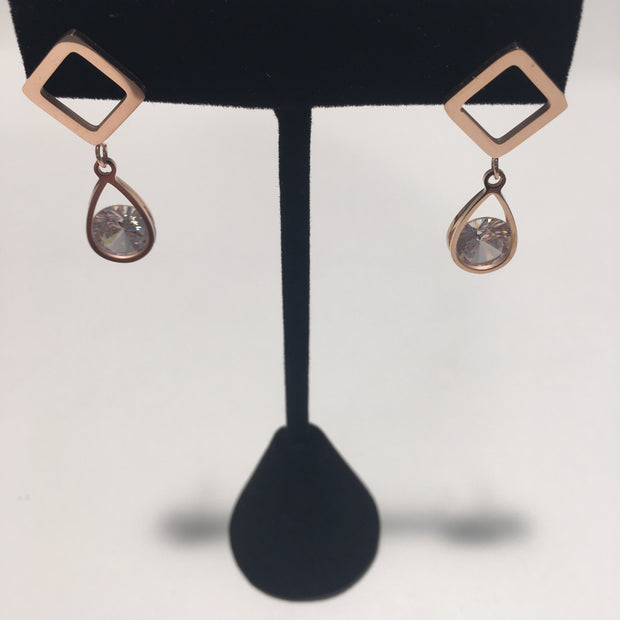 Rose Gold Earrings W/Tear Drop