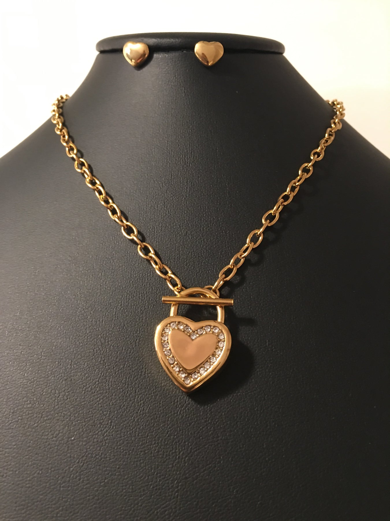 Gold Toggle Heart Necklace Set