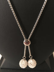 Double Crystal Ball Necklace Set