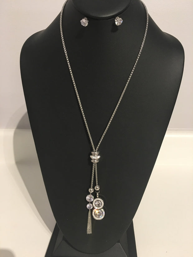 Adjustable Toggle Stainless & Crystal Necklace Set
