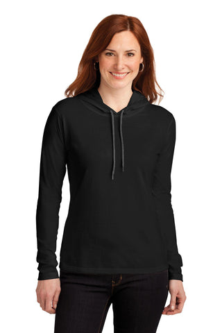 Anvil Ladies 100% Ring Spun Cotton Long Sleeve Hooded T-Shirt. 887L