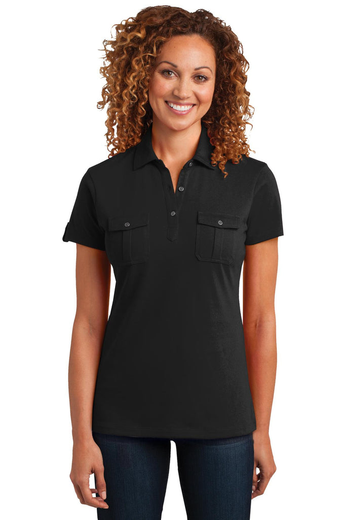 District Made® Ladies Double Pocket Polo. DM433