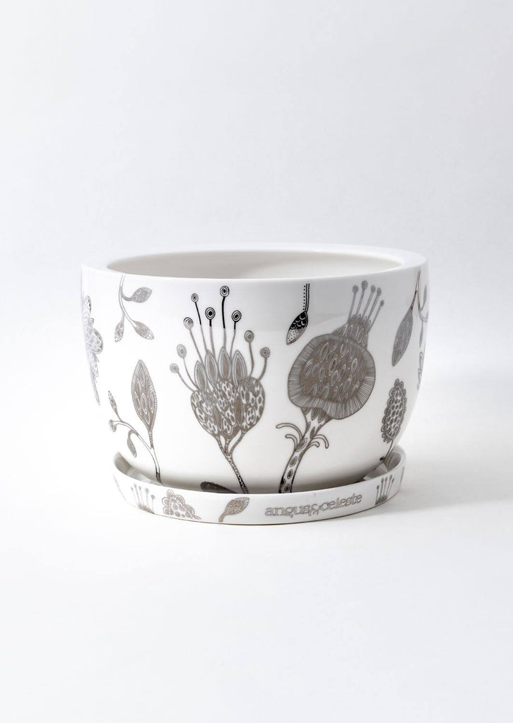 Decorative Plant Pot Silver Garden