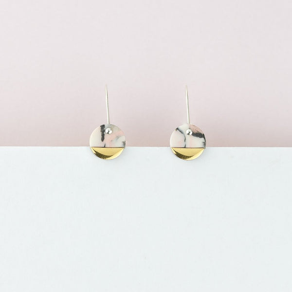 Pink Marble Spot Earrings