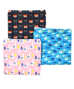 Revelae Kids cloth sandwich bags Critter set with lamas, fish and Sherwood foxes