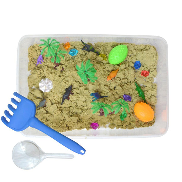 Dinosaur World Discovery Box sensory bin by Revelae Kids