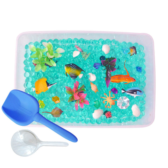 Ocean Exploration Discovery Box sensory bin by Revelae Kids