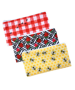 Revelae Kids cloth snack bag Picnic Yummi Pouch set - ants, strawberries and bees