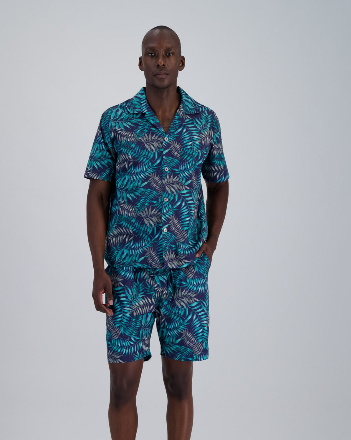 Mens Short Pyjamas Palm Leaves Navy