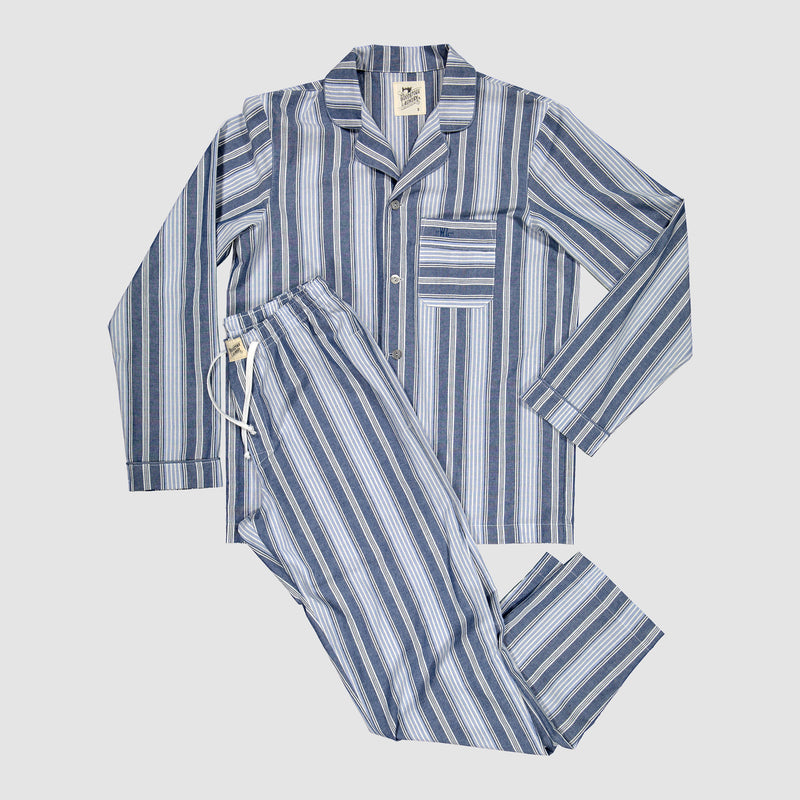 Mens Pyjamas Crosby Stripe Blue - Woodstock Laundry