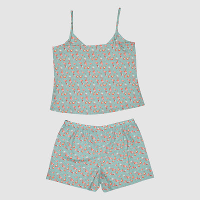 Womens Camisole Pyjamas Flamingo Flamenco Blue - Woodstock Laundry