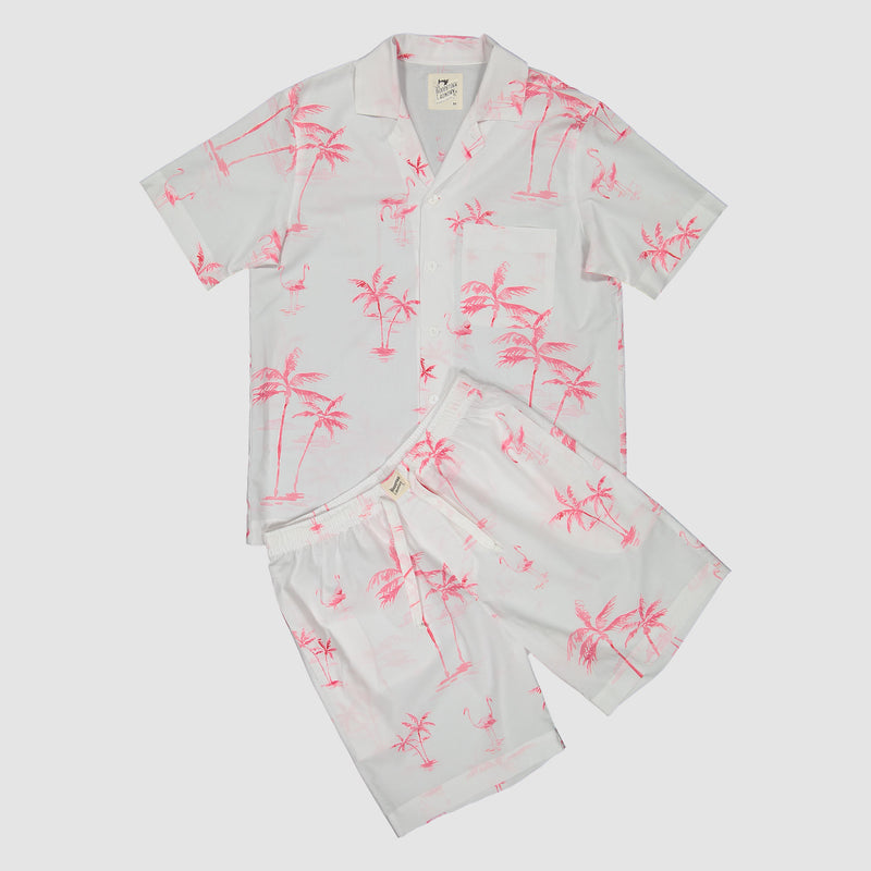 Mens Short Pyjamas Pink Palm - Woodstock Laundry