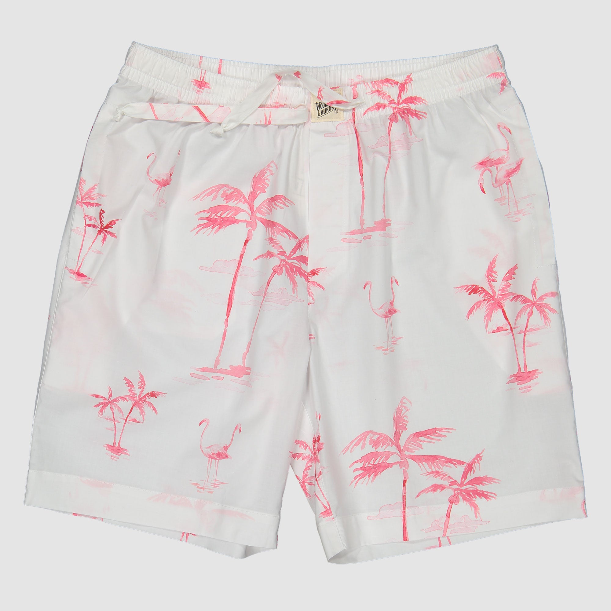 Mens Lounge Shorts Pink Palm - Woodstock Laundry