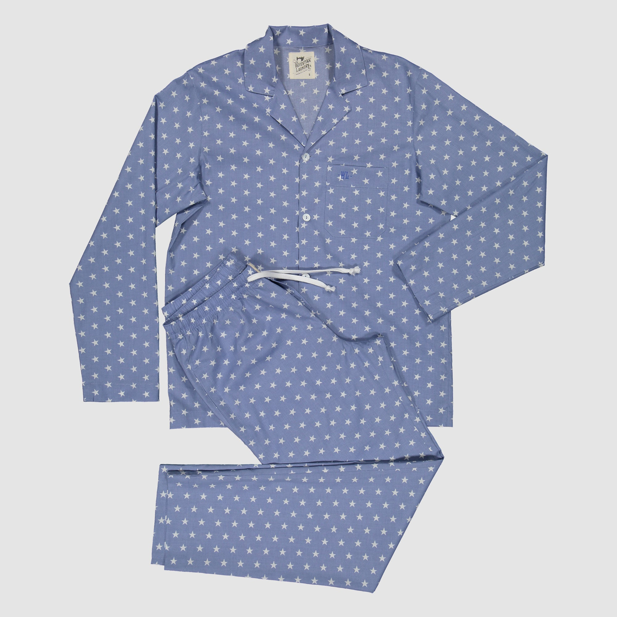 Mens Long Pyjamas Blue Stars - Woodstock Laundry