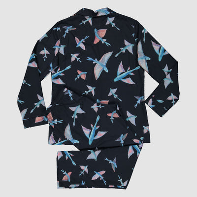 Womens Long Pyjamas Flying Fish Navy - Woodstock Laundry