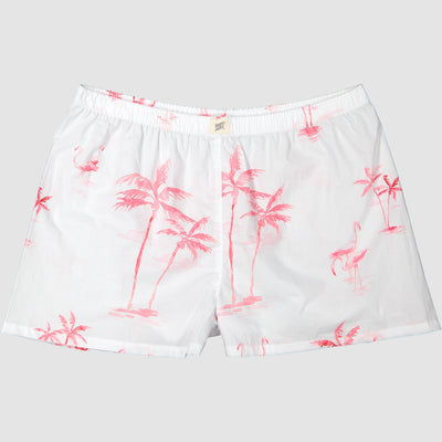 Womens Boxer Shorts Pink Palm - Woodstock Laundry