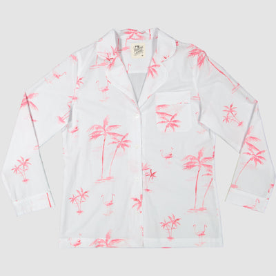 Womens Long Pyjamas Pink Palm - Woodstock Laundry