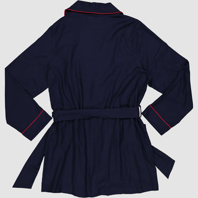 Womens Gowns Flannel Navy with Red Piping - Woodstock Laundry