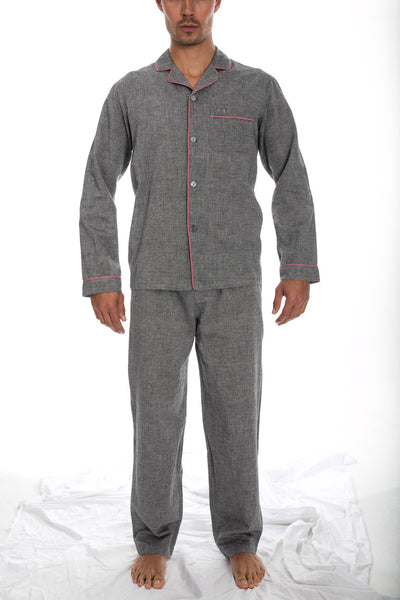 Pyjamas Charcoal Chambray Pink Piping