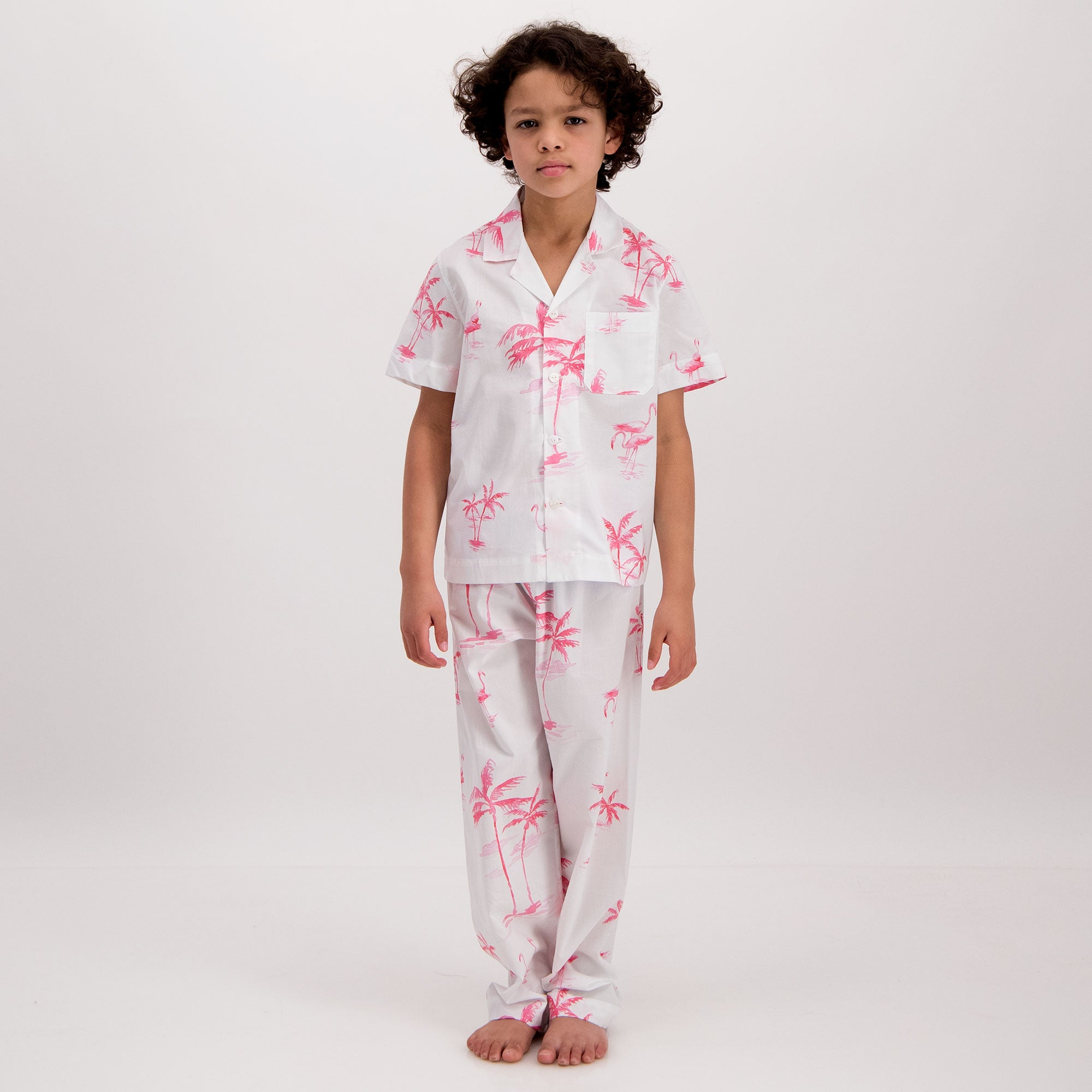 Boys Long Pyjamas Pink Palm - Woodstock Laundry