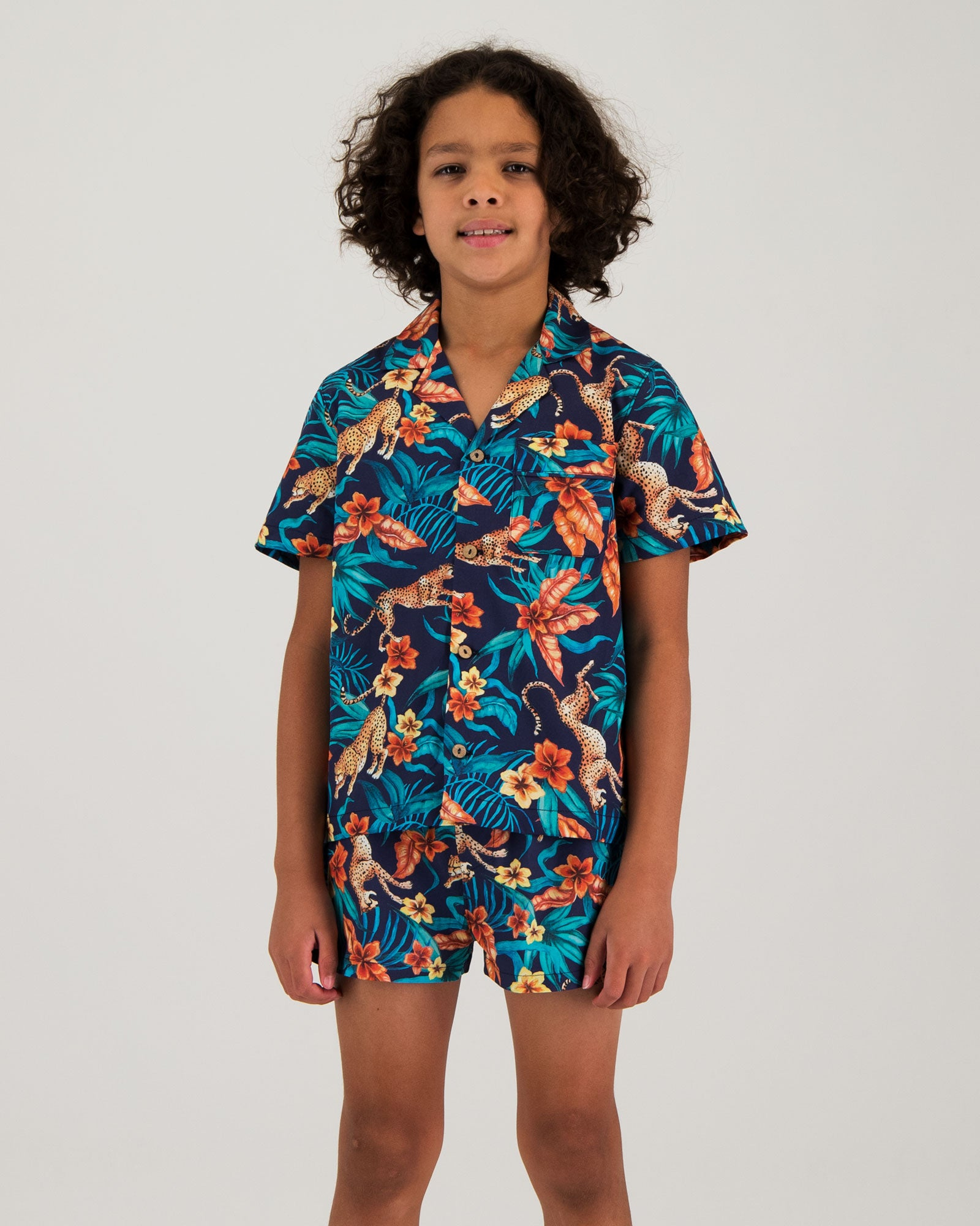 Boys Short Pyjamas - Jungle Cheetah Navy