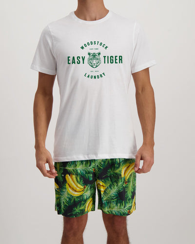 Mens Lounge Shorts Bananas On Leaves with Easy Tiger T-shirt - Woodstock Laundry