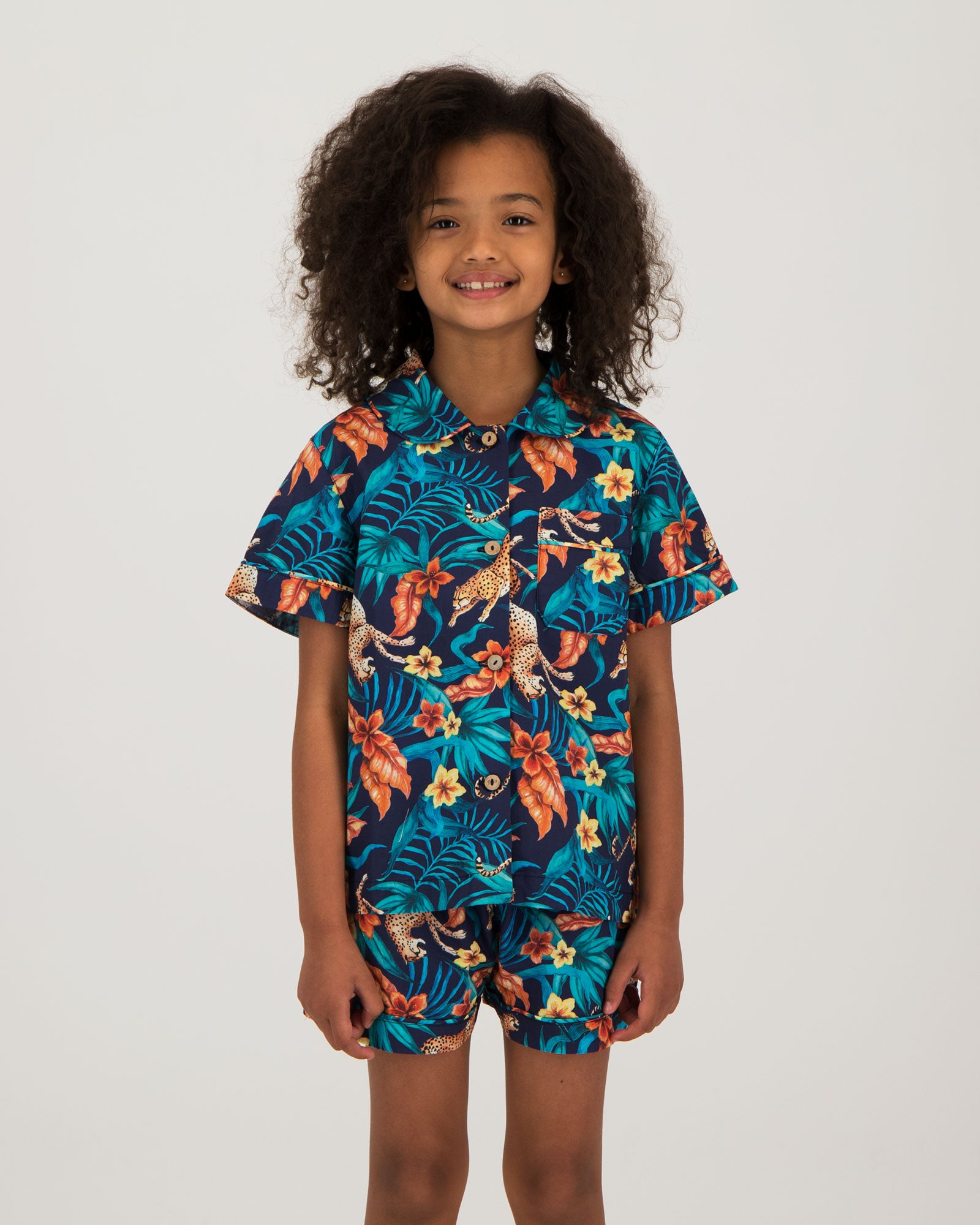 Girls Short Pyjamas - Jungle Cheetah Navy